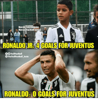 Cristiano Ronaldo, Football, and Goals: Marcos Fussballecke  Marcos Foothail Corner  RONALDOURHA GOAL'S FOREJUVENTUS  TrollFootball  The Troll Football Insta  RONALDOH 0 GOALS FOR JUVENTUS Cristiano Ronaldo Jr with 4 Goals on his Debut. https://t.co/ArlYl3mspf