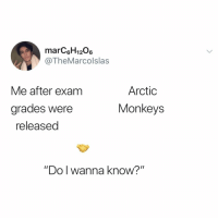"Anna, Relatable, and Arctic Monkeys: marCsH1206  @TheMarcolslas  Me after exam  Arctic  Monkeys  grades were  released  ""Do l W  anna know?"" does this feeling flow both ways, bio exam??"