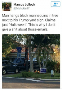 "Halloween, Memes, and Shit: Marcus bullock  @Mbhokie97  Man hangs black mannequins in tree  next to his Trump yard sign. Claims  just ""Halloween"". This is why don't  give a shit about those emails. Defeating Trumpism goes beyond this election."