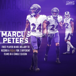 Memes, Nfl, and Record: MARCUS  NFL  24  MARCUS  PETERS  FIRST PLAYER IN NFL HISTURY TO  RECORD A PICK-6 FOR 2 DIFFERENT  TEAMS IN A SINGLE SEASON That's just what @marcuspeters DOES.   #RavensFlock https://t.co/w4Tt6gaSRr