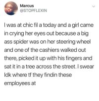 Ass, Crying, and Ironic: Marcus  @STOPFLEXIN  I was at chic fil a today and a girl came  in crying her eyes out because a big  ass spider was on her steering wheel  and one of the cashiers walked out  there, picked it up with his fingers and  sat it in a tree across the street. I swear  ldk where tf they findin these  employees at