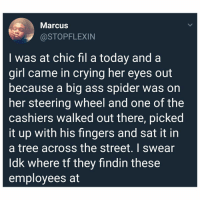 Ass, Crying, and Memes: Marcus  @STOPFLEXIN  I was at chic fil a today and a  girl came in crying her eyes out  because a big ass spider was on  her steering wheel and one of the  cashiers walked out there, picked  it up with his fingers and sat it in  a tree across the street. I swear  ldk where tf they findin these  employees at They really are out here doing the lord's work!! 😭