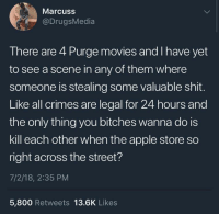 <p>Just sayin (via /r/BlackPeopleTwitter)</p>: Marcuss  @DrugsMedia  There are 4 Purge movies and I have yet  to see a scene in any of them where  someone is stealing some valuable shit.  Like all crimes are legal for 24 hours and  the only thing you bitches wanna do is  kill each other when the apple store so  right across the street?  7/2/18, 2:35 PM  5,800 Retweets 13.6K Likes <p>Just sayin (via /r/BlackPeopleTwitter)</p>