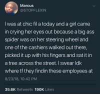 Ass, Crying, and Spider: MarcusS  @STOPFLEXIN  I was at chic fil a today and a girl came  in crying her eyes out because a big ass  spider was on her steering wheel and  one of the cashiers walked out there,  picked it up with his fingers and sat it in  a tree across the street. I swear ldk  where tf they findin these employees at  8/23/18, 10:42 PM  35.6K Retweets 190K Likes honestly chic fil a is the wholesome haven