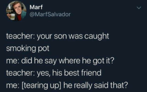 Tearing Up: Marf  @MarfSalvador  teacher: your son was caught  smoking pot  me: did he say where he got it?  teacher: yes, his best friend  me: [tearing up] he really said that?