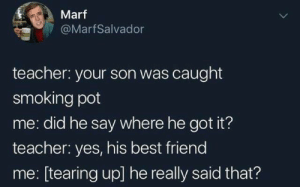 Best friends: Marf  @MarfSalvador  teacher: your son was caught  smoking pot  me: did he say where he got it?  teacher: yes, his best friend  me: [tearing up] he really said that? Best friends