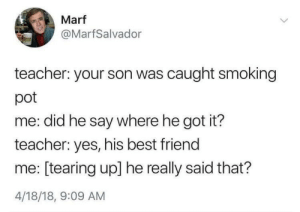 A true parental achievement: Marf  @MarfSalvador  teacher: your son was caught smoking  pot  me: did he say where he got it?  teacher: yes, his best friend  me: [tearing up] he really said that?  4/18/18, 9:09 AM A true parental achievement