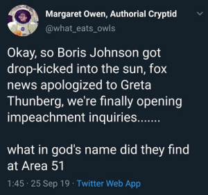 News, Tumblr, and Twitter: Margaret Owen, Authorial Cryptid  @what_eats_owls  Okay, so Boris Johnson got  drop-kicked into the sun, fox  news apologized to Greta  Thunberg, we're finally opening  impeachment inquiries..  what in god's name did they find  at Area 51  1:45 25 Sep 19. Twitter Web App  > hela-daughter-of-loki:don't question it, just let it happen