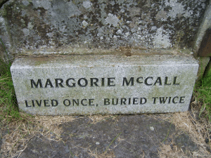 "sixpenceee:  After succumbing to a fever of some sort in 1705, Irish woman Margorie McCall was hastily buried to prevent the spread of whatever had done her in. Margorie was buried with a valuable ring, which her husband had been unable to remove due to swelling. This made her an even better target for body snatchers, who could cash in on both the corpse and the ring. The evening after Margorie was buried, before the soil had even settled, the grave-robbers showed up and started digging. Unable to pry the ring off the finger, they decided to cut the finger off. As soon as blood was drawn, Margorie awoke from her coma, sat straight up and screamed. The fate of the grave-robbers remains unknown. One story says the men dropped dead on the spot, while another claims they fled and never returned to their chosen profession. Margorie climbed out of the hole and made her way back to her home. Her husband John, a doctor, was at home with the children when he heard a knock at the door. He told the children, ""If your mother were still alive, I'd swear that was her knock."" When he opened the door to find his wife standing there, dressed in her burial clothes, blood dripping from her finger but very much alive, he dropped dead to the floor. He was buried in the plot Margorie had vacated. (Source) : MARGORIE MCCALL  LIVED ONCE, BURIED TWICE sixpenceee:  After succumbing to a fever of some sort in 1705, Irish woman Margorie McCall was hastily buried to prevent the spread of whatever had done her in. Margorie was buried with a valuable ring, which her husband had been unable to remove due to swelling. This made her an even better target for body snatchers, who could cash in on both the corpse and the ring. The evening after Margorie was buried, before the soil had even settled, the grave-robbers showed up and started digging. Unable to pry the ring off the finger, they decided to cut the finger off. As soon as blood was drawn, Margorie awoke from her coma, sat straight up and screamed. The fate of the grave-robbers remains unknown. One story says the men dropped dead on the spot, while another claims they fled and never returned to their chosen profession. Margorie climbed out of the hole and made her way back to her home. Her husband John, a doctor, was at home with the children when he heard a knock at the door. He told the children, ""If your mother were still alive, I'd swear that was her knock."" When he opened the door to find his wife standing there, dressed in her burial clothes, blood dripping from her finger but very much alive, he dropped dead to the floor. He was buried in the plot Margorie had vacated. (Source)"