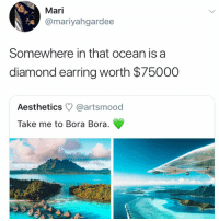 no sleep pour moi: Mari  @mariyahgardee  Somewhere in that ocean is a  diamond earring worth $75000  Aesthetics @artsmood  Take me to Bora Bora no sleep pour moi