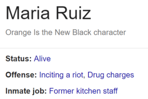 Alive, Riot, and Prison: Maria Ruiz  Orange Is the New Black character  Status: Alive  Offense: Inciting a riot, Drug charges  Inmate job: Former kitchen staff hmmm maria ruiz also exists in a tv show about prison