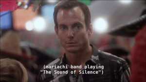 """The Sound of Silence: (mariachi band playing  """"The Sound of Silence"""")"""