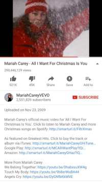 mariah carey we belong together: Mariah Carey All I Want For Christmas ls You  290,446,129 views  921K  45K  Share  Add to  Save  Mariah CareyVEVO  SUBSCRIBE  2,551,839 subscribers  Uploaded on Nov 23, 2009  Mariah Carey's official music video for All I Want For  Christmas Is You'. Click to listen to Mariah Carey and more  Christmas songs on Spotify: http://smarturl.it/FiltrXmas  As featured on Greatest Hits. Click to buy the track or  album via iTunes: http://smarturl.it/MariahCareyGHiTune  Google Play: http://smarturl.it/MCAlllWantPlay?lQi...  Amazon: http://smarturl.it/MariahCareyGHaz?lQ...  More from Mariah Carey  We Belong Together: https://youtu.be/0habxsuXW4g  Touch My Body: https://youtu.be/9b8erWuBA44  Angels Cry: https://youtu.be/DyGNfbKkMVE