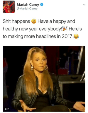 hypersexualsportswear:THE QUEEN HAS SPOKEN: Mariah Carey  @MariahCarey  Shit happens  Have a happy and  healthy new year everybody!Here's  to making more headlines in 2017  GIF hypersexualsportswear:THE QUEEN HAS SPOKEN