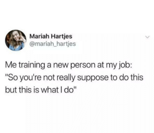 "me🔨irl: Mariah Hartjes  @mariah_hartjes  Me training a new person at my job:  ""So you're not really suppose to do this  but this is what I do"" me🔨irl"