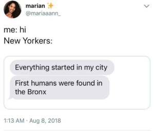 the accuracy by shhhh420 MORE MEMES: marian  @mariaaann_  me: hi  New Yorkers:  Everything started in my city  First humans were found in  the Bronx  1:13 AM Aug 8, 2018 the accuracy by shhhh420 MORE MEMES