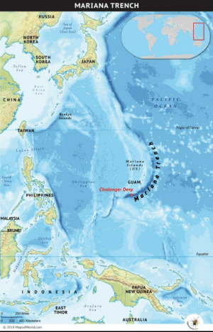 Today is my last day of being 14, this is deep: MARIANA TRENCH  RUSSIA  Sea of  Japan  (East Sea)  NORTH  KOREA  SOUTH  KORÉA  JAPAN  Yellow  Sea  East  China  CHINA  PACIFIC  OCE AN  Ryukyu  Islands  Tropic of Cancer  TAIWAN  Luzon Strait  Mariana  Islands  (US)  South  China  Sea  GUAM,  Challenger Deep  Philippine  Sea  PHILIPPINES  MALAYSIA  BRUNEI  Celebes  Sea  Equator  PAPUA  NEW GUINEA  INDONESIA  Solomon  Sea  Arafura  Sea  EAST  TIMOR  200 Miles  AUSTRALIA  200 400 Kilometers  © 2018 MapsofWorld.com  Makassan Strait  ,elaמ, Today is my last day of being 14, this is deep