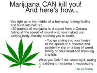 Marijuana: Marijuana CAN kill you!  And here's how.  You light up in the middle of a hairspray testing facility  and burst into hell fire  150 pounds of marijuana is dropped from a Cessna  falling at the speed of sound onto your naked, sun  bathing body, thereby crushing you to death.  You go sliding into your house  at the speed of a cheetah and  accidently slip on a bag of weed,  falling on your head and breaking  it to bits.  Ways you CAN'T die: smoking it, eating  it, dabbing it, tincturing it, vaoporizing  RXLeaf com