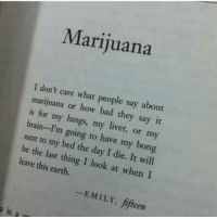 Bad, Memes, and Say It: Marijuana  I don't care what people say about  marijuana or how bad they say it  is for my lungs, my liver, or my  brain-I'm going to have my bon  next to my bed the day I die. It will  be the last thing I look at whenI  leave this earth.  -EMILY, fifteen  a is a