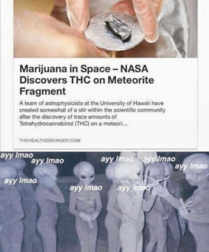 Hold up by Savage_Tiago MORE MEMES: Marijuana in Space - NASA  Discovers THC on Meteorite  Fragment  A team of astrophysicists at the University of Hawaii have  created somewhat of a stir within the scientific community  after the discovery of trace amounts of  Tetrahydrocannabinol (THC) on a meteori...  THEHEALTHDISORDER.COM  аyy Imao  ayy Imao ayy Imao  ayy Imao  аyy Imao  ayy Imao  ayy Imao  аyy Imao Hold up by Savage_Tiago MORE MEMES