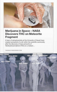 Ayy LMAO, Community, and It's Lit: Marijuana in Space NASA  Discovers THC on Meteorite  Fragment  A team of astrophysicists at the University of Hawaii have  created somewhat of a stir within the scientific  community  after the discovery of trace amounts of  Tetrahydrocannabinol ITHO) on a meteori...  THEHEALTHDISORDER.COM  ayy mao  ayy lmao  lmao  ayy Imao  ayy lmao  ayy lmao  ayy lmao  ayy In It's lit.