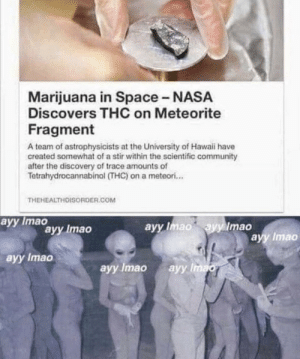 Community, Nasa, and Hawaii: Marijuana in Space -NASA  Discovers THC on Meteorite  Fragment  A team of astrophysicists at the University of Hawaii have  created somewhat of a stir within the scientific community  after the discovery of trace amounts of  Tetrahydrocannabinol (THC) on a meteori...  THEHEALTHDISORDER.COM  ayy Imao  ayy Imao ayy Imao  аyy Imao  ayy Imao  ayy Imao  аyy Imao  ayy Imao Epic