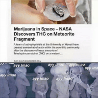 Ayy LMAO, Memes, and Nasa: Marijuana in Space-NASA  Discovers THC on Meteorite  Fragment  A team of astrophysicists at the University of Hawaii have  created somewhat of a stir within the scientific community  after the discovery of trace amounts of  THEHEALTHDISORDER.COM  ayy maa  Sayy Imao  ayy Imao  ayy Ima  ayy Imao  ayy lmao  ayy lmao @grapejuiceboys is teh funniest shit I've ever seent