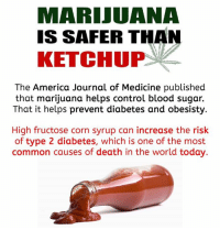 Bloods, Memes, and Common: MARIJUANA  IS SAFER THAN  KETCHUP  The America Journal of Medicine published  that marijuana helps control blood sugar.  That it helps prevent diabetes and obesisty  High fructose corn syrup can increase the risk  of type 2 diabetes, which is one of the most  common causes of death in the world today.