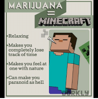 Videogames = Drugs (Swipe to see all the panels!): MARIJUANA  Relaxing  Makes you  completely lose  track of time  Makes you feel at  one with nature  Can make you  paranoid as hell Videogames = Drugs (Swipe to see all the panels!)