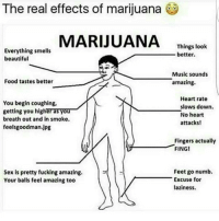 Memes, 🤖, and Feet: MARIJUANA  Things look  Everything smells  better.  beautiful  Music sounds  Food tastes better  amazing  Heart rate  You begin coughing,  slows down.  getting you higheTTYOU  No heart  breath out and in smoke.  attacks!  feels goodman. jpg  Fingers actually  FING!  Feet go numb.  Sex is pretty fucking amazing.  Excuse for  Your balls feel amazing too  laziness. werd themoreyouknow yourewelcome wheredaweed hahahaha 420