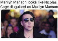 @dankhoodmemez just leaked the Face Behind The EGG! You need to see this 😯: Marilyn Manson looks like Nicolas  Cage disguised as Marilyn Manson @dankhoodmemez just leaked the Face Behind The EGG! You need to see this 😯