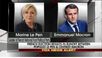 Memes, News, and Breaking News: Marine Le Pen  Emmanuel Macron  Leaderof French National Front PolitCalPa  FRENCH ELECTION RESULTS IN RUNOFF BETWEEN  POPULIST LE PEN & CENTRIST MACRON  FOX NEWS ALERT Breaking News: As France's polls close in the first round of presidential voting, Marine Le Pen and Emmanuel Macron are projected by multiple news agencies to advance to a May 7 runoff.