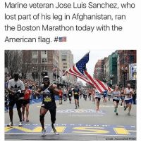 Memes, Lost, and Afghanistan: Marine veteran Jose Luis Sanchez, who  lost part of his leg in Afghanistan, ran  the Boston Marathon today with the  American flag.  #Ea  MAMPER FI  28644  G today inumericanhistory  Credit Associated Press Legend. 👏 🇺🇸 (@todayinamericanhistory)