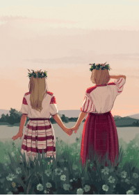 Clothes, Target, and Tumblr: marinovannyeogurchiki:  one of my entries to the Always By Your Side @hetalia-fanzine! finally uploading it to my artblog. i had wanted to draw belarus and ukraine in traditional clothes for ever and finally did it for this zine \o/