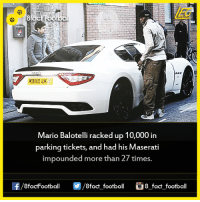 Did you know that...  Join our backup page 8Football: Mario Balotelli racked up 10,000 in  parking tickets, and had his  Maserati  impounded more than 27 times  OO  8fact football  8 fact football Did you know that...  Join our backup page 8Football