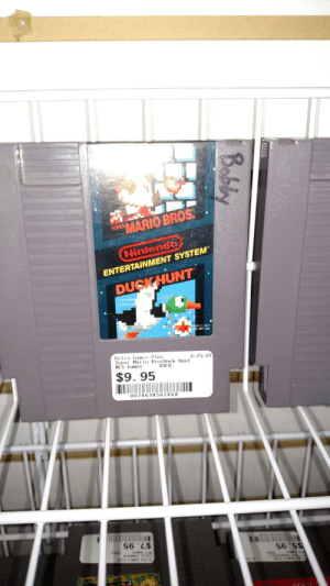 Nintendo, Mario, and Duck: MARIO BROS  SUPER  Nintendo  ENTERTAINMENT SYSTEM  DUCKHUNT  in Japon  USA  Retro Games Plus  Supe Maio BrosDuck Hunt  NES Games  8/25/20  $9. 95  U024634562468  S6 'L$ Went to a retro game shop. Found my exact copy of Mario Bros/Duck Hunt from when I was a kid nearly 18 years ago