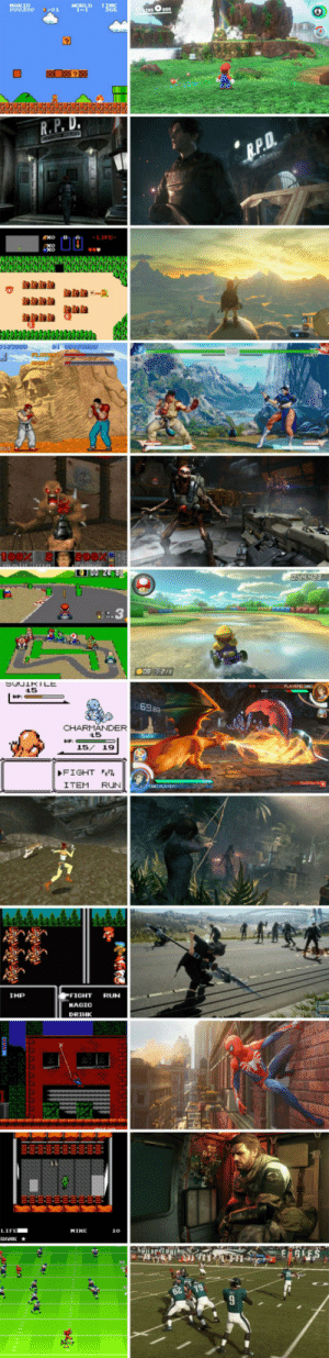 geekgamer:Graphics then compared to the graphics now: MARIO  o00300  HORLD  TIME  366  asO000  01  R.P.D.  R.P.D.  Exo  -LIFE-  D037000  vapd  CHULT  J00 248  O44 423  SCUIRILE  15  PLAVERR FOn  HP:  69.63  CHARMANDER  15  15/ 19  FIGHT  ITEM  RUN  CosPLAVERT  FIGHT  IMP  RUN  HAGIC  DRIHK  LIFE  MINE  10  RENIC  GLES  25  6219 geekgamer:Graphics then compared to the graphics now