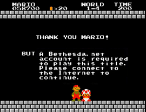 If Bethesda published Super Mario Bros: MARIO  O58700  HORLD  1-4  TIME  200  x20  YOU MARIO  THANK  BUT A Bethesda. net  account is required  to Play this title  Piease connect to  the Internet to  continue. If Bethesda published Super Mario Bros