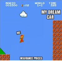 Cars, Memes, and Mario: MARIO  X02  OO33OO  MY DREAM  CAR  ME  INSURANCE PRICES That's impossible. Car memes