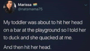 Cute, Head, and Reddit: Marissa  @natsmama75  My toddler was about to hit her head  on a bar at the playground so I told her  to duck and she quacked at me.  And then hit her head. Cute cute cute