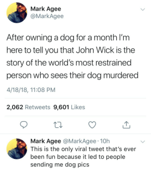 John Wick, Been, and Dog: Mark Agee  @MarkAgee  After owning a dog for a month I'm  here to tell you that John Wick is the  story of the world's most restrained  person who sees their dog murdered  4/18/18, 11:08 PM  2,062 Retweets 9,601 Likes  Mark Agee @MarkAgee 10h  This is the only viral tweet that's ever  been fun because it led to people  sending me dog pics