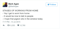 working from home: Mark Agee  @MarkAgee  Follow  STAGES OF WORKING FROM HOME  Yay I get to work from home  It would be nice to talk to people  I hope that pigeon sits in the window today  7:17 PM-14 Jul 2015  9,353  12,760