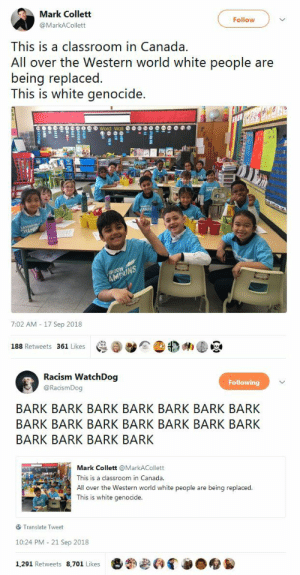 "Asian, Bodies , and Parents: Mark Collett  @MarkACollett  Follow  This is a classroom in Canada.  All over the Western world white people are  being replaced  This is white genocide.  馑匯  7:02 AM - 17 Sep 2018  188 Retweets 361 ikes   Racism WatchDog  @RacismDog  Following  BARK BARK BARK BARK BARK BARK BARK  BARK BARK BARK BARK BARK BARK BARK  BARK BARK BARK BARK  Mark Collett @MarkACollett  This is a classroom in Canada  All over the Western world white people are being replaced.  This is white genocide  Translate Tweet  10:24 PM 21 Sep 2018  1,291 Retweets 8,701 Likes diversehighfantasy: lkeke35:   blackqueerblog:  Republicans: ""It's not genocide when black, brown or Jewish people are  murdered, but it *is* genocide when white people *aren't* murdered.  We'll figure out how later on.""    I guess we don't want to talk about this part but part of the reason that classroom is as diverse as it is is that all the White people pulled their kids out of such schools long ago. In fact white people will run to a whole new zip code as soon as the neighborhood starts to diversify. It's called White Flight, and while I don't know how often that happened in Canada, in the US it is very well documented how much White people have always hated diversity, and ran away from it at every opportunity. It's not genocide if the reason that classroom is Brown is because all the White People ran away!   YUP. An organization in my city (which is 55% Black in the city proper) recently analyzed the racial data of the public schools, and found that the whitest schools are about 70% white with a Black population of about 7% on average (the other +/- 23% is predominantly Asian in those schools, with Latino numbers close to the Black numbers).  Some look at that data and say, well, 70% white reflects the population!  But it doesn't. Not when you consider that a full 50% of white kids in the metro area (when you include the suburbs, it's about 65% white) are not in the public school system. So, if 50% of white kids are not in the public school system, an integrated school would have about 30% white kids, not 70%. Schools with 30% white kids and 70% black, Latino and Asian kids are considered ""bad"" schools, regardless of facilities, teachers, and achievements.  When you factor in the fact that nearly all of those white kids are working class or poor, these are considered straight up Black schools, no different from schools that are 90% Black. No one wants to say it, but the undesirability of these schools – schools that, today, have things like Innovation centers, engineering labs, pro level TV studios, robotics labs, commercial kitchens and even working farms, things that many private and predominantly white charters don't have – is painfully clear. It's not about facilities or programs. The most innovative schools in the city serve majority minority student bodies.  Even objectively good schools, if they serve students that are Black, ESL, IDD, and low income, are not fit for middle class to wealthy white kids according to their parents. And I live in a very Blue state. I know very ""liberal"" parents who wouldn't dream of sending their kids to a non-charter or non white segregated public school. It's not ""genocide."" Far from it. It's voluntary white segregation."