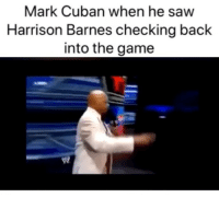 Did him wrong🤦‍♂️ (Via ‪DThompson25‬-Twitter): Mark Cuban when he saw  Harrison Barnes checking back  into the game Did him wrong🤦‍♂️ (Via ‪DThompson25‬-Twitter)