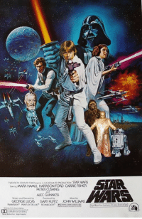 Carrie Fisher, Harrison Ford, and Star Wars: MARK HAMULL HARRISON FORD CARRIE FISHER  PETERCUSHING  ALEC GUINNESS  Water and Dected  GEORGE LUCAS GARY KURTZ JOHN WILLIAMS  DOUBY SYSTEM Lms if you're a true Star Wars fan