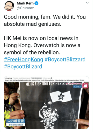 overwatch: Mark Kern  @Grummz  Good morning, fam. We did it. You  absolute mad geniuses.  HK Mei is now on local news in  Hong Kong. Overwatch is now a  symbol of the rebellion.  #FreeHongKong #BoycottBlizzard  #BoycottBlizard  r/HongKong Posted by u/redditbuddyhasnot FREE HONG KONG! 15 hours ago  This is Mei. Mei has finally landed on the streets of HK. Mei is fighting for her rights. Be like Mei. #liberatehongkong Image  MEI IS FIGHTING FOR HER RIGERalily.com  20:43 9  尖沙嘴警署  姜偉康現場報道