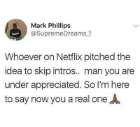 Memes, Netflix, and 🤖: Mark Phillips  @SupremeDreams 1  Whoever on Netflix pitched the  idea to skip intros.. man you are  under appreciated. So I'm here  to say now you a real oneA You are appreciated.