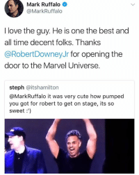 Cute, Love, and Memes: Mark Ruffalo  @MarkRuffalo  I love the guy. He is one the best and  all time decent folks. Thanks  @RobertDowneyJr for opening the  door to the Marvel Universe.  steph @itshamilton  @MarkRuffalo it was very cute how pumped  you got for robert to get on stage, its so  sweet:') Omg Science Bros bromance is real markruffalo hulk brucebanner robertdowneyjr ironman tonystark