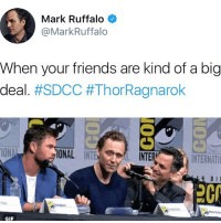 That would be me chrishemsworth tomhiddleston markruffalo avengers avengersassemble thor loki hulk: Mark Ruffalo  @MarkRuffalo  When your friends are kind of a big  deal. #SDCC #ThorRagnarok  ONAL INT  L INTE  R)  INTERNATI  D IE  2C  GIF That would be me chrishemsworth tomhiddleston markruffalo avengers avengersassemble thor loki hulk