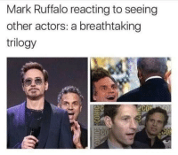 avengersmemes:  We are all Mark Ruffalo ✨🙌: Mark Ruffalo reacting to seeing  other actors: a breathtaking  trilogy  C0 avengersmemes:  We are all Mark Ruffalo ✨🙌